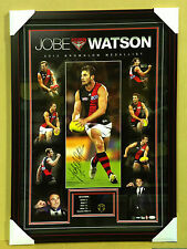 FRAMED AUTHENTIC JOBE WATSON SIGNED AFL PRINT POSTER WITH REPLICA BROWNLOW MEDAL