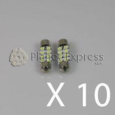 10 x Bombillas 8 LED SMD C5W Festoon 36mm Matricula, interior... Blanco Xenon