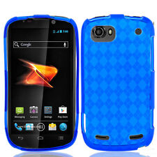 For ZTE Warp Sequent TPU Candy Flexi Gel Crystal Skin Case Cover Blue Plaid