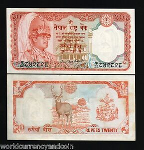 NEPAL 20 RUPEES P32 a 1985 Sign 10 DEER ANIMAL KING BIRENDRA UNC BILL BANK NOTE
