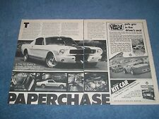 """1965 Shelby GT-350R Vintage Article """"Paper Chase"""" GT350 Mustang Fastback"""