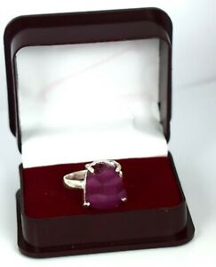 925 Sterling Silver 18.30 Ct Burma Ruby Natural Gemstone Rough Ring Certified