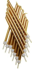 12 Metallic Gold Tall Candles & Holders 10cm Birthday Party Cake Topper