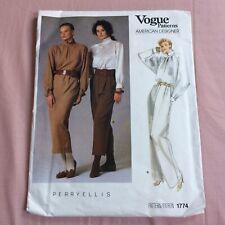 More details for vintage 1986 vogue patterns perry ellis # 1774 sewing pattern size 12