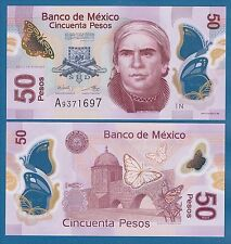 Mexico 50 Pesos P 123A New 2014 UNC Serie N Low Shipping! Combine FREE! Polymer