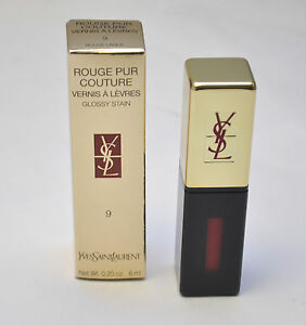 Yves Saint Laurent YSL Rouge Pur Couture Lipstick 9 Rouge Laque Glossy Stain NEW