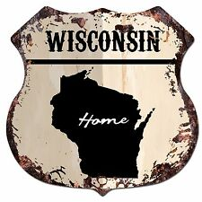 Bp0164 Home Wisconsin Map Shield Rustic Chic Sign Bar Shop Home Decor Gift