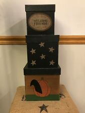 Set of 3 Fall Nesting Painted Boxes-Square-Welcome Friends-Star-Pumpkin-Crow-CUT