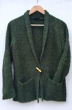 51c3ec7b9a Vintage 70s Moss Green Chunky Rib Knit Collared Cardigan 8 10 Small