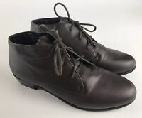 David Tate Women's Lace Up Ankle Boots 7.5 M Brown Leather Upper Low Heal