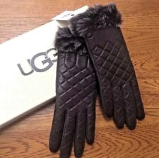 UGG AUSTRALIA BROWN QUILTED LEATHER TOUCH SCREEN GLOVES SIZE S/M