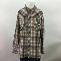 Mens Wrangler Western Fashion Shirts Tan Plaid Pearl Snap Button Up Shirt