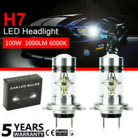 2X H7 12V 100W Car LED Headlight  COB Kits Fog Light Bulb Lamp 6000K White