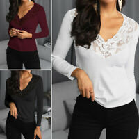UK Women Plus Size V Neck Lace Floral Sexy Party Club Casual Tops T Shirt Blouse