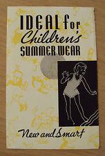 """VTG ca 1930's Kellog's ADVERTISING Brochure~""""CHILDREN'S SUMMER WEAR""""~"""