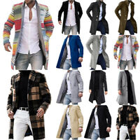 Mens Winter Warm Trench Coats Jacket Long Sleeve Casual Parka Outwear Overcoat
