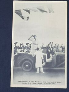 France BRAZZAVILLE AEF Arrival the General de GAULLE Old Litho Postcard 1940