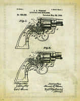 Smith & Wesson Revolver Patent Print Vintage Gun Collector Office Wall Art Decor