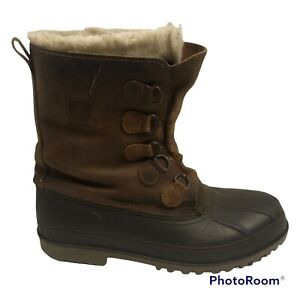Lacrosse Insulated Brown Leather & Rubber Snow Boots Mens Size 13 USA No Laces