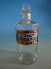 RS1119-032: Alte Apotheke Glas Flasche um 1900 Tinct. Zincib. Fort.