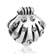 shell 925 Silver Europe Charm Beads Fit sterling Bracelet Necklace Chain B#248