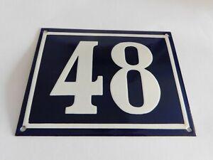 """Blue Vintage French Street House Name Number 48 - Enamel Porcelain Sign 7 x 5.5"""""""