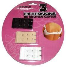 Paquet de 3 Extension Soutien-gorge Double Rallonge Crochets Extensible