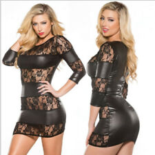Black Faux Leather Lace Mid Length Sleeve Short Bodycon Dress & Thong Size 10-12
