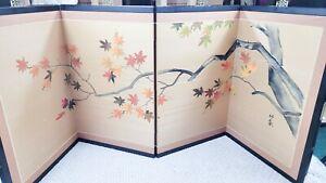 Vintage Japanese hand painted silk screen panel Byobu