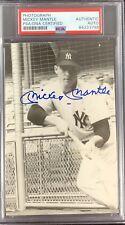 Mickey Mantle Signed Photo Baseball 3.5 x 5.5 HOF Yankees Autograph Cut PSA/DNA