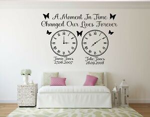 FAMILY WALL ART VINYL STICKER PERSONALISED A MOMENT IN TIME CLOCK MEMORIES