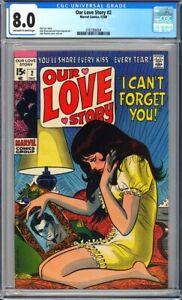 Our Love Story #2 CGC 8.0 John Buscema art, John Romita cover & Art!L@@K!
