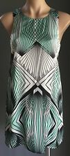 Gorgeous DOTTI Green, White, Black & Grey Graphic Print Shift Dress Size 8