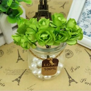12PCs Heads Artificial Rose Flowers Small Fake Paper Bouquet Wedding Home Décor