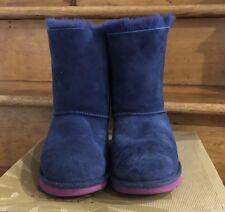 UGG Australia Uggs Kids Girls Size 6 Bailey Bow Blue Sheepskin Boots