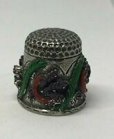 Collectable PEWTER Thimble HAND PAINTED LAURELS CORN      (AA122)