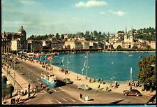 Switzerland Lucerne Lake Bridge 1956 Postcard