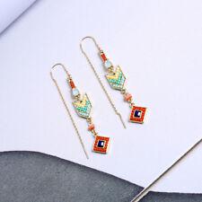 Boucles d'oreilles Geometique Ethnique Mini Perle Rouge Jaune Turquoise AA26