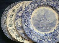 "Set of 4 Vintage Mismatched China Ironstone 10"" Dinner Plates Blue & White"