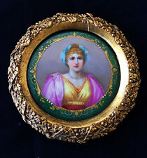 Fine Antique framed portrait of a Woman on round porcelain