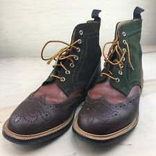 Preowned 2013 Mark McNairy Crazy Mix Brogue Boots US 11 RARE leather suede