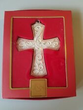Lenox Opal Innocence Metal Cross ornament Nib