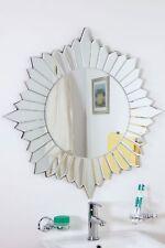 Large Wall Mirror Bathroom Modern Round Sunburst Venetian All Glass 2Ft8 80cm
