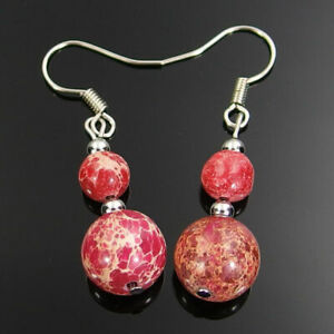 Red sea sediment jasper gemstone beads dangle earrings 6mm 10mm