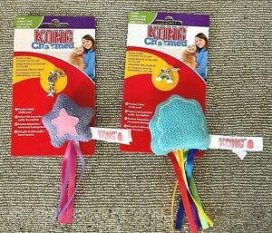 2 x KONG Charmed Catnip Cat Toys With Collar Pendant Charm - RAINBOW And STAR