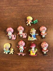 Vintage Strawberry shortcake PVC Miniature Figures lot of 9 1980's Rare