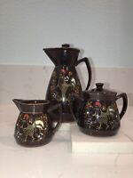 Decorative 3 Piece Brown Japanese Teapot Set Creamer And Sugar Bowl With Rooster