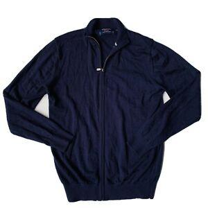 Charles Tyrwhitt 100% Merino Wool Knit Cardigan Jumper Navy Men's Size Medium