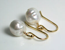 9x11mm AA++ quality baroque South Sea saltwater pearl & gold vermeil earrings