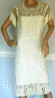 $3,995 MARCHESA Lace Tassel Fringe Embroidered Wedding Cocktail Dress IT 44 US 8